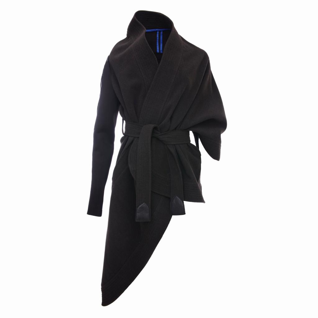 Deconstructed Wool One Sleeve Cape