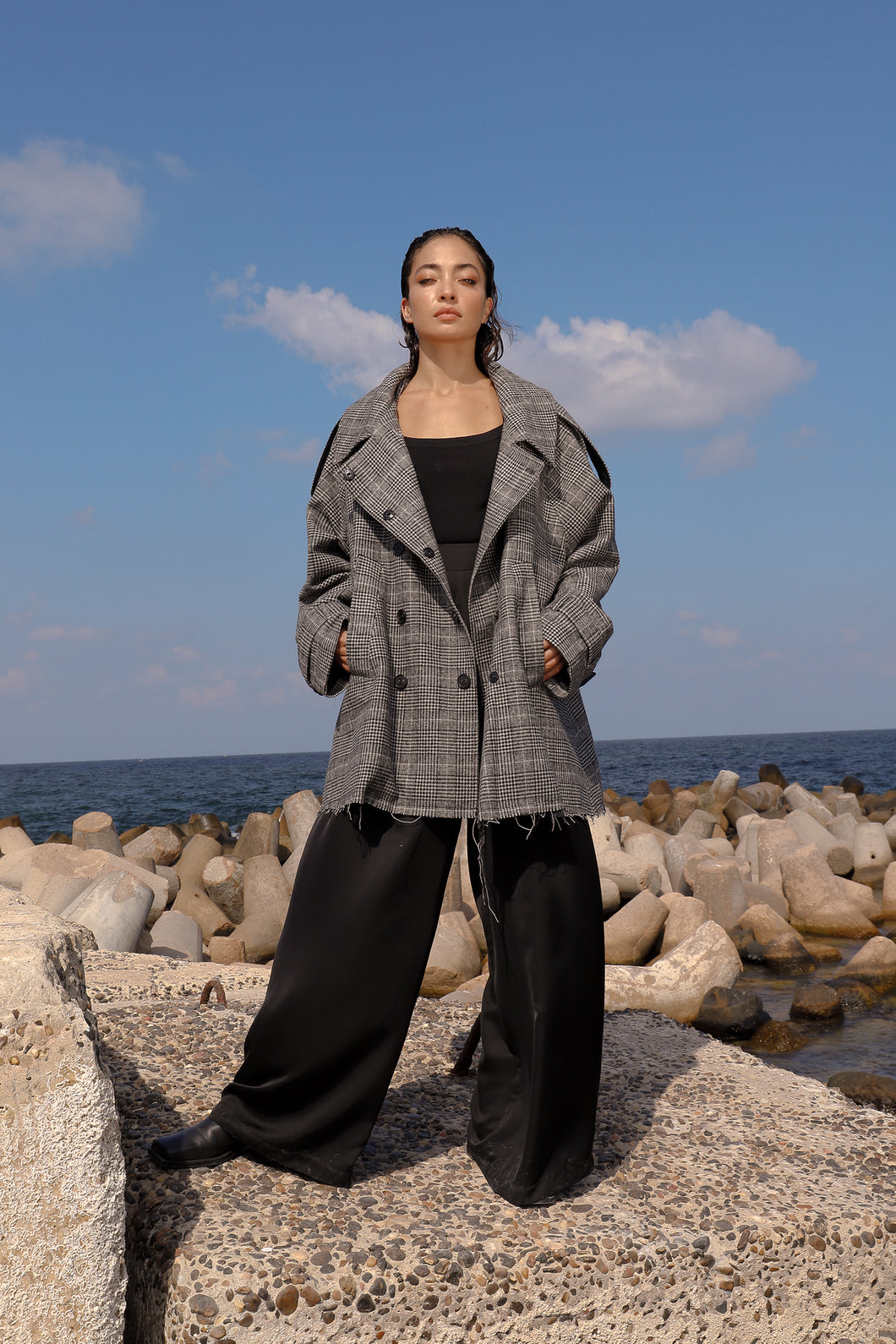 Oversized checks wool trench coat
