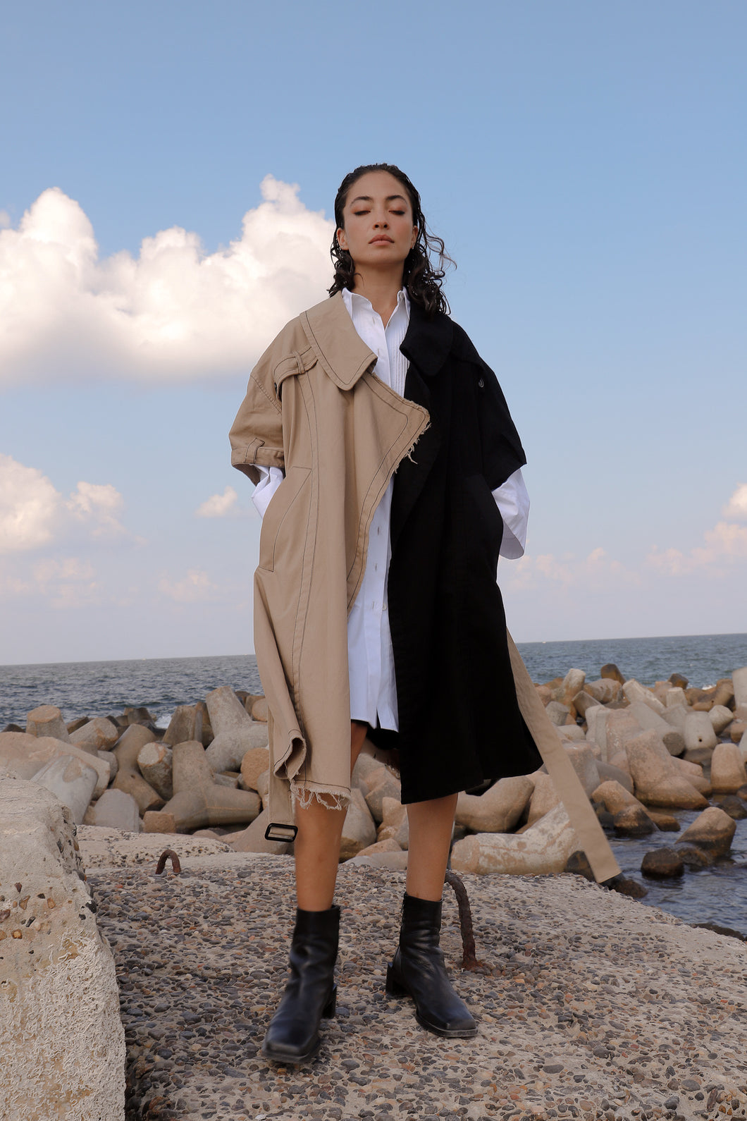 Bicolour Oversized Trench Coat