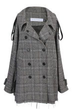 Load image into Gallery viewer, Oversized checks wool trench coat