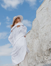 Load image into Gallery viewer, Draped back white shirt dress