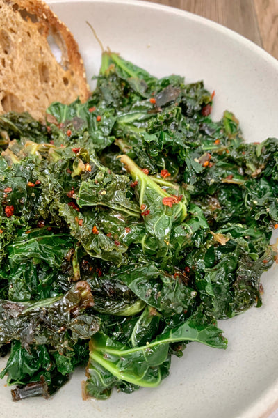 Balsamic Mustard Kale with Green Garlic