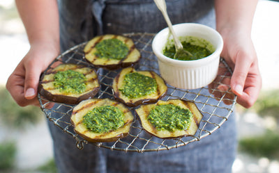 Grilled Eggplant with Zhug Pesto