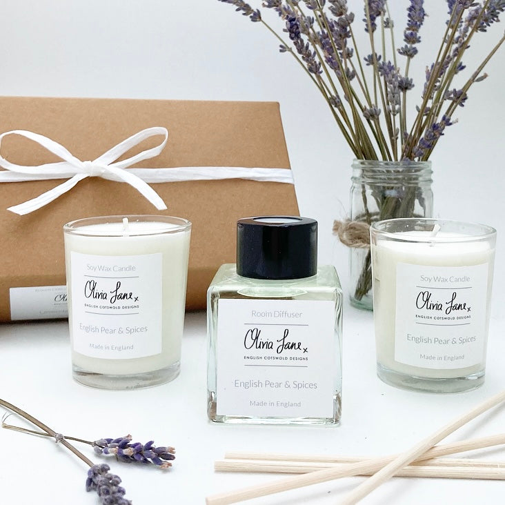 Reed Diffuser and Candle Gift Set - English Pear and Spices