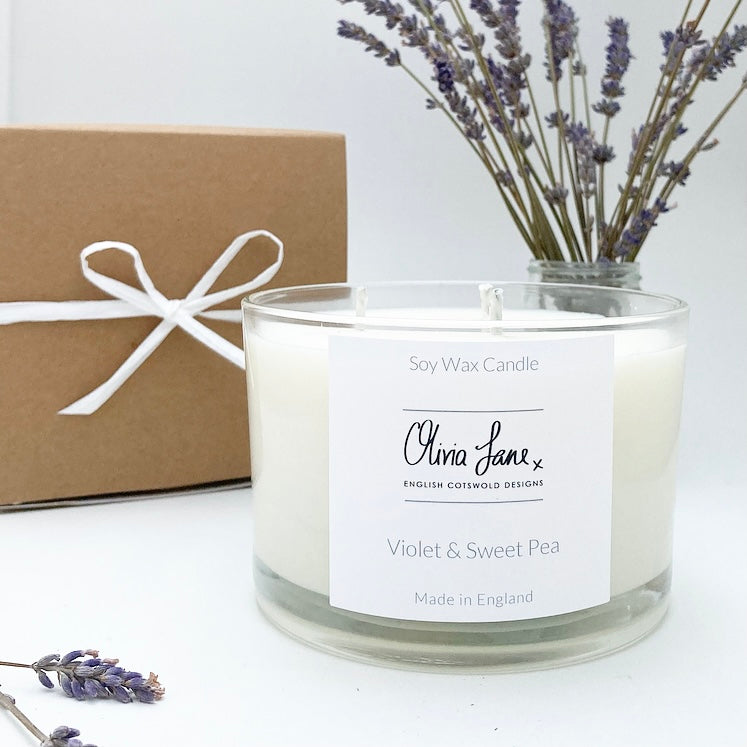 3 Wick Jumbo Candle - Violet and Sweet Pea