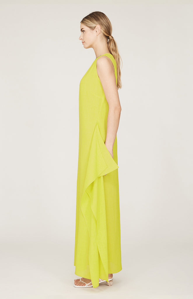 Microlinen Sleeveless Dress w/Side Cascade Skirt