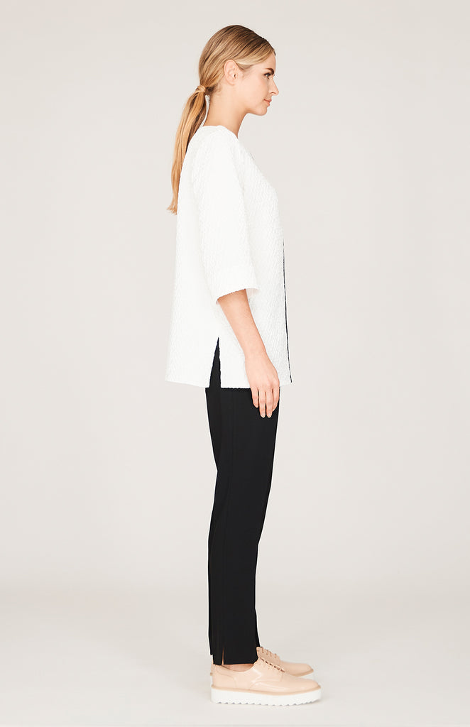 Textured Jacquard Long Sleeve Contrast Tunic