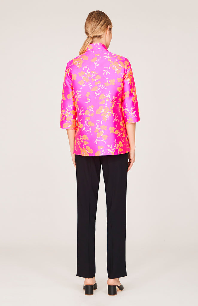 Floral Jacquard High Neck Shirt