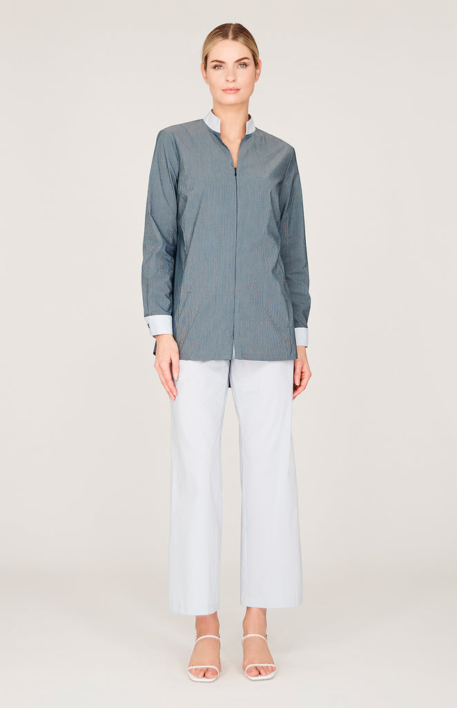 Striped Shirting Zip Front Mandarin Collar Shirt