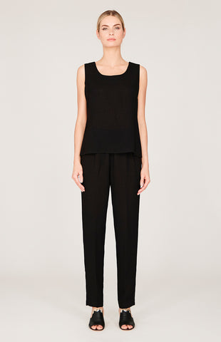 Lustrous Crepe Elbow Split Top