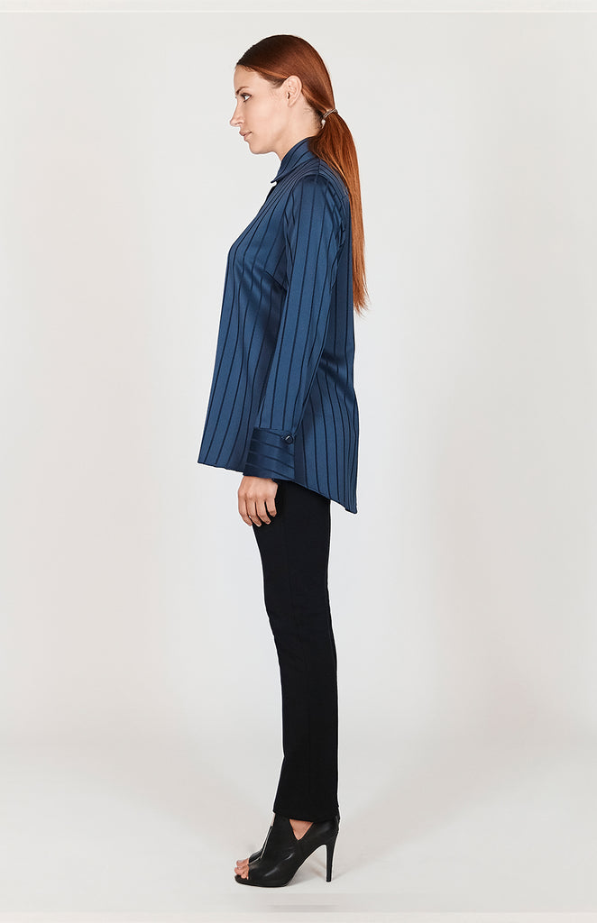 Ribbed Stripe Oversized Back Overlap Shirt - CAPSULE 1