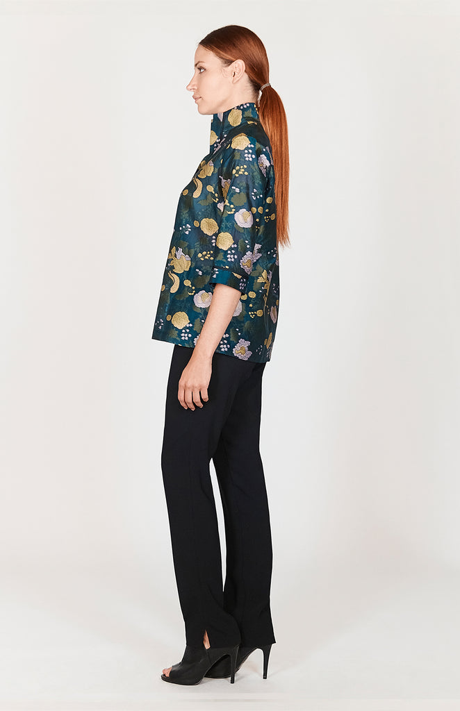 Floral Organza High Neck Shirt - CAPSULE 2