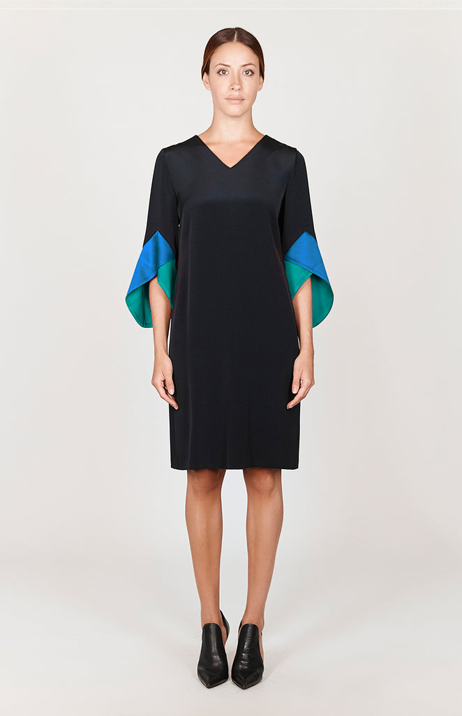 Shift Dress w/ Contrast Color Blocked Sleeves