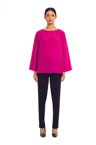 3/4 sleeve jewel neck top