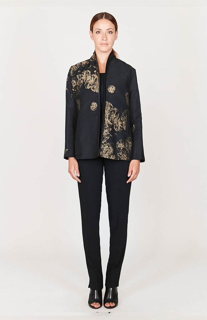 Golden Floral Lamé Long Jacket w/ Short Sleeves - CAPSULE 3