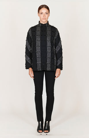 Long button down jacket w/ contrast