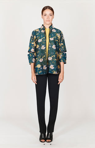 Ombre Cloud Jacquard Long Jacket w/ Short Sleeves