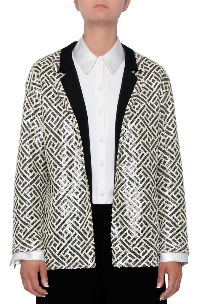Geometric Sequin Blazer
