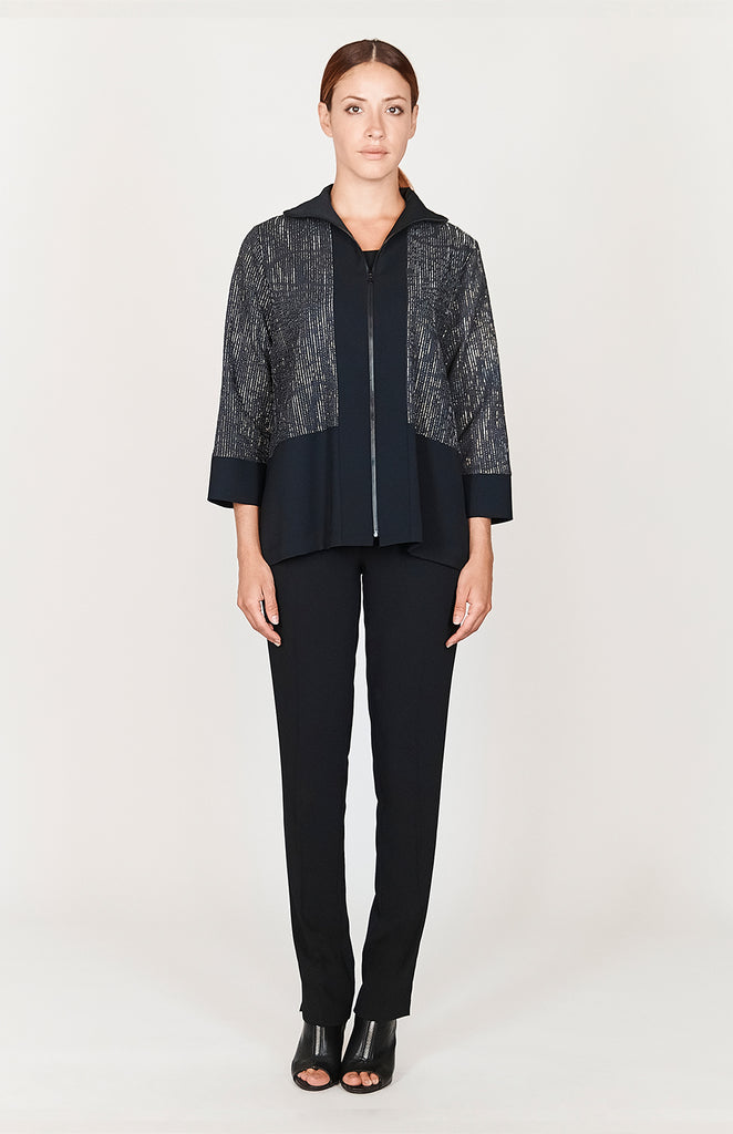 Embossed Metallic Stripe High Neck Zip Up Jacket