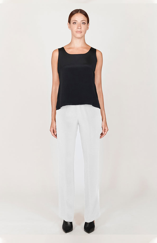 Essential Silk Straight Leg Pant w/ Elastic Waist  - BASICS / ESSENTIALS