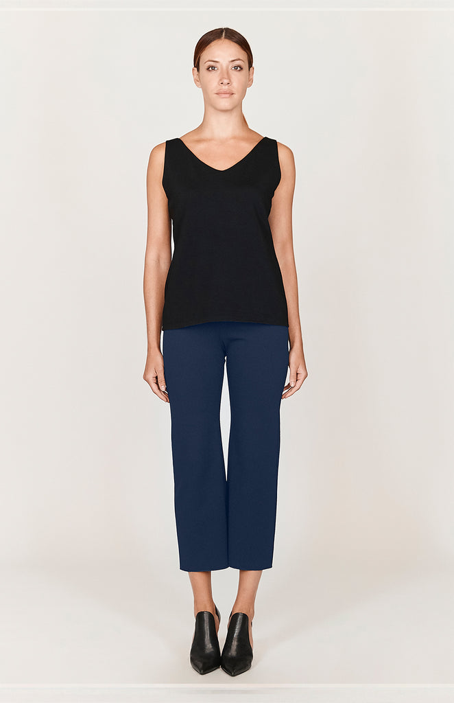 Ponte Cropped Straight Pants w/ Elastic Waistband