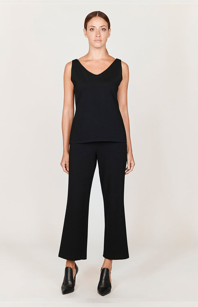 Ponte Cropped Pants w/ Narrow Elastic Waistband - CAPSULE 1