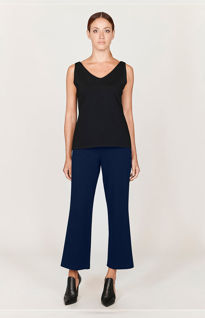 Ponte Cropped Pants w/ Narrow Elastic Waistband