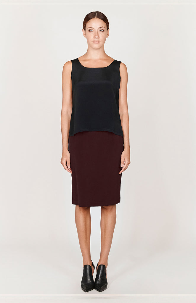 "Essential Silk 26"" Slim Skirt w/ Back Elastic"
