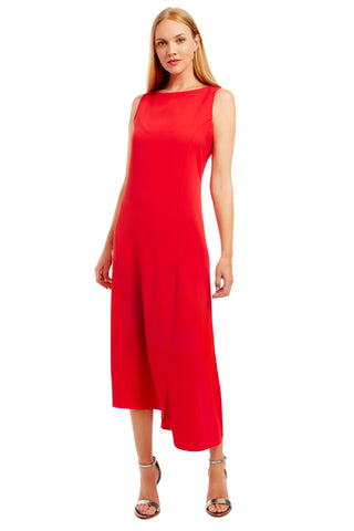 Sleeveless long dress w/ side drape