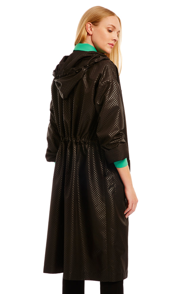 Long raincoat w/ hood & drawstring at waist