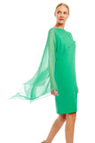 Dress w/ asymmetric capelet