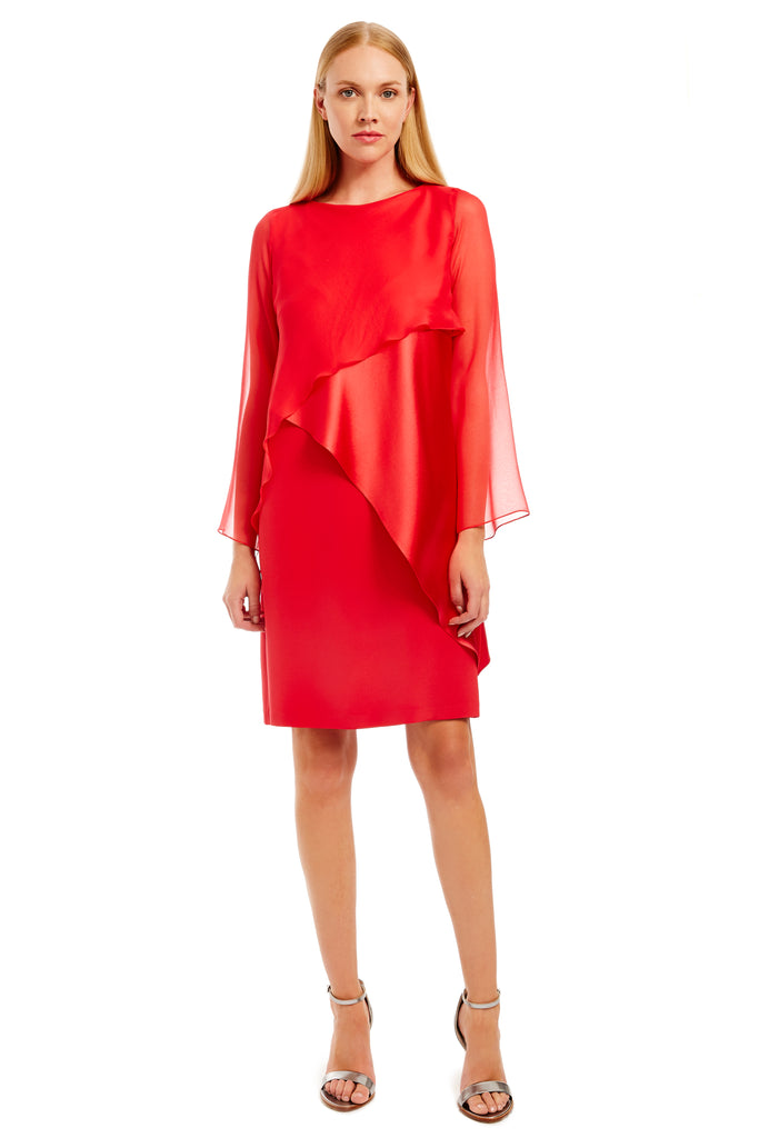 Long sleeve layered dress w/ chiffon top