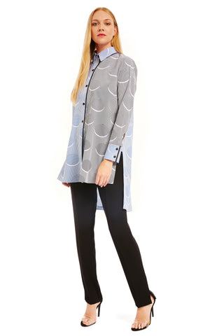 Long button down jacket w/ black collar