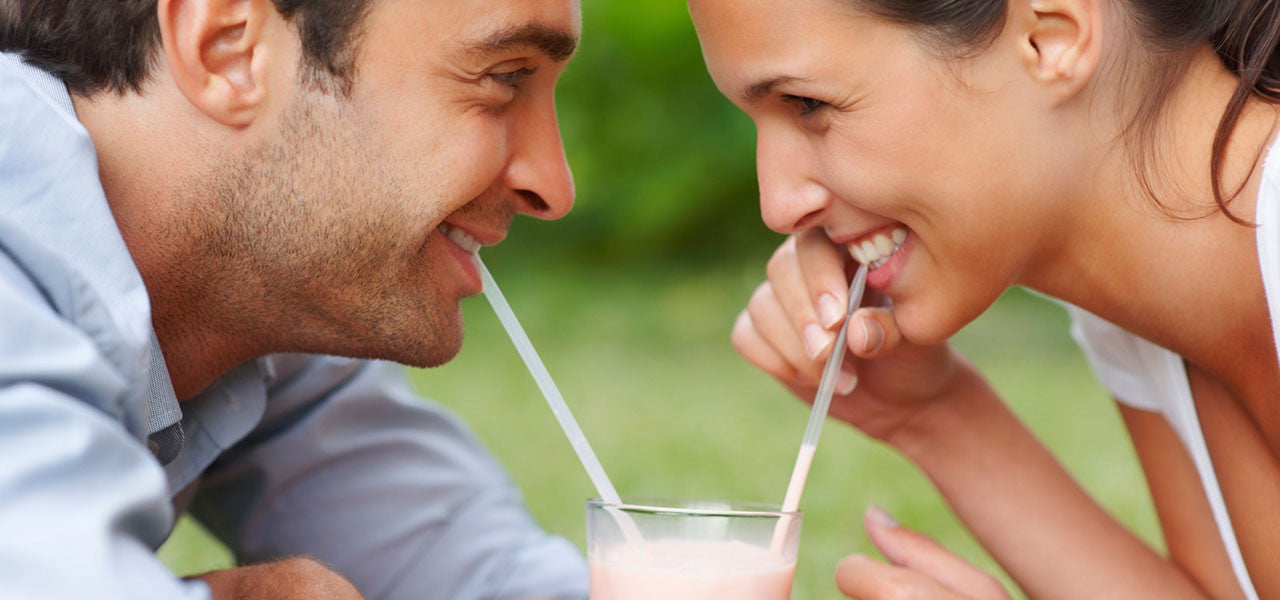 romantic couple with milkshake