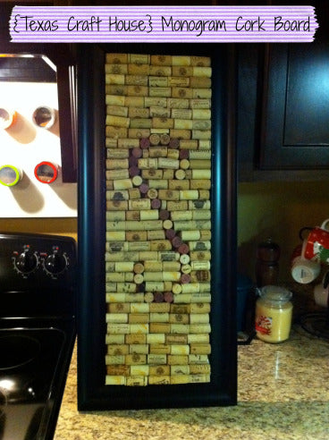 Monogram Cork Board from Wine Corks
