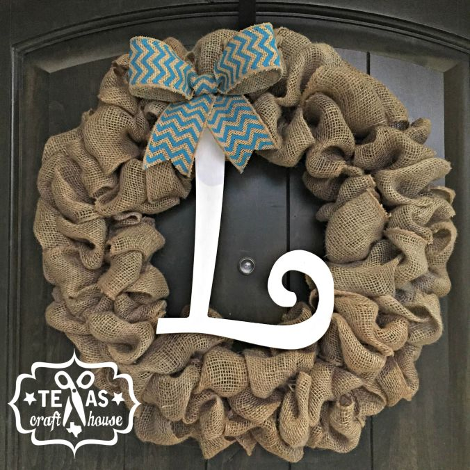 Scrap Burlap Monogram Wreath