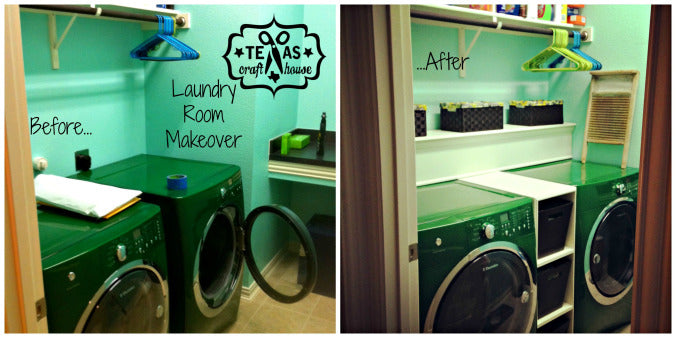 Laundry Room Makeover: Washer and Dryer Storage
