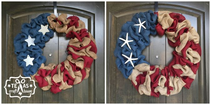 DIY Burlap Americana Wreath