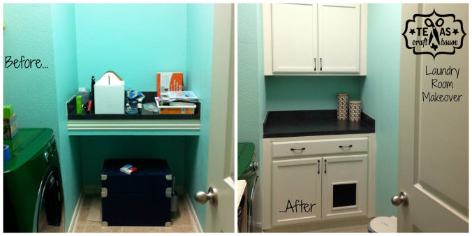 Laundry Room Makeover: Built-in Litter Box Cabinet