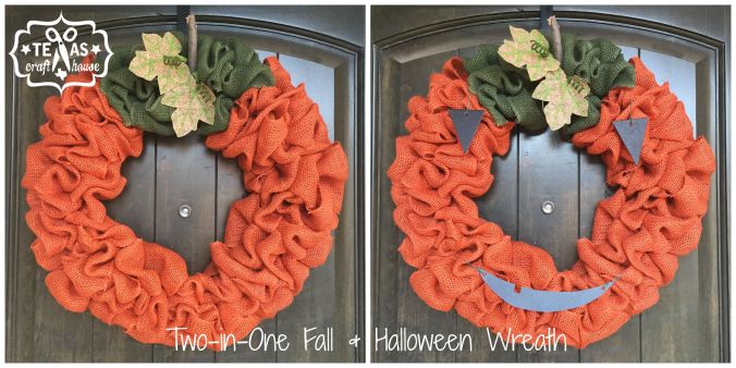 Two in One Fall and Halloween Burlap Wreath