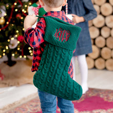 Load image into Gallery viewer, Monogrammed Cable Knit Christmas Stocking - Red, Green, Creme, Gray Christmas Stocking - Monogrammed Christmas Home Decorations