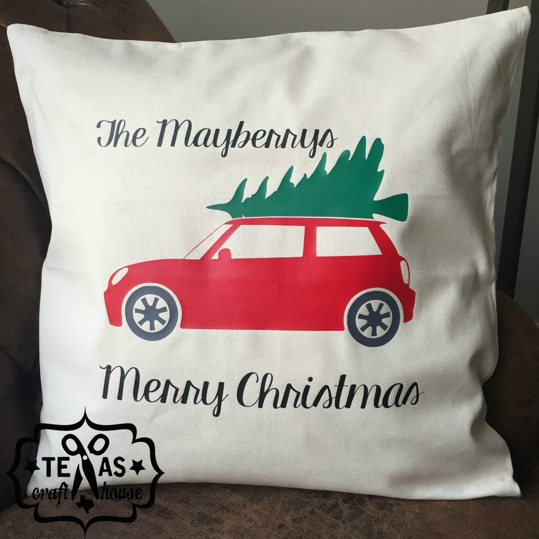 Personalized Last Name Red Truck Christmas Pillow - Personalized Last Name Christmas Pillow