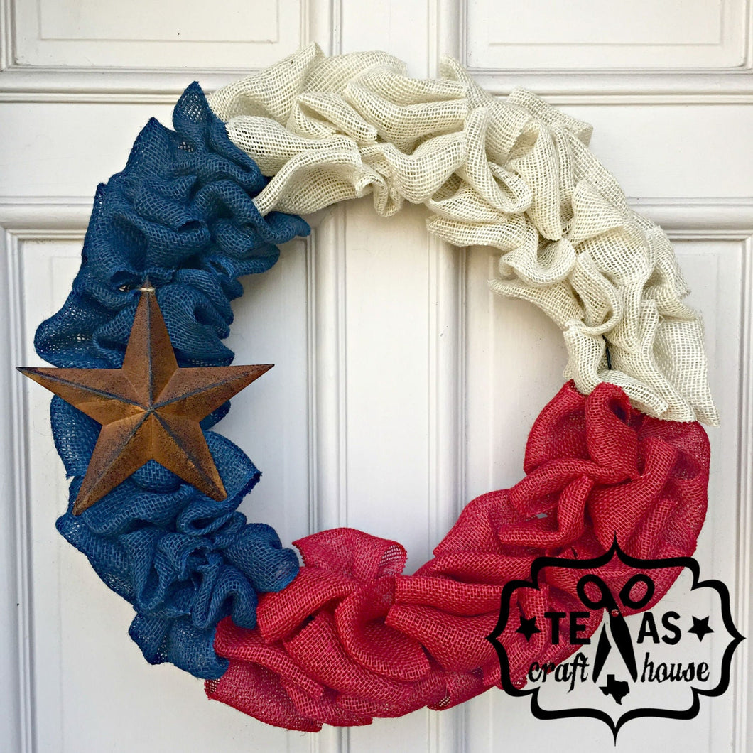 Burlap Texas Wreath with Rustic Star
