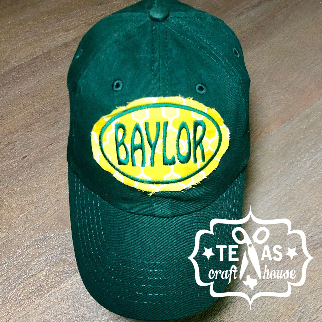 Baylor Inspired Monogram Patch Baseball Hats