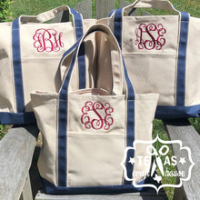 Load image into Gallery viewer, Monogrammed Large Canvas Boat Tote