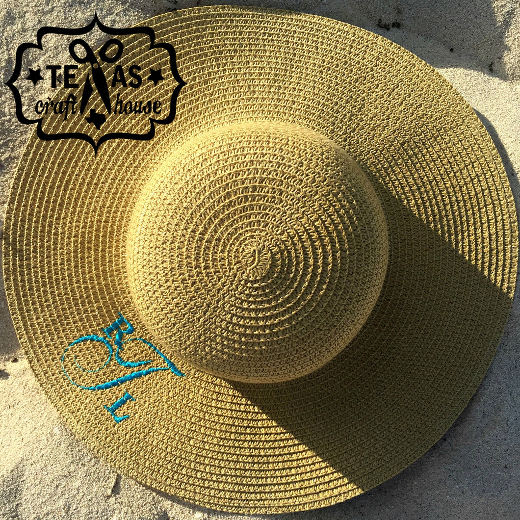 Custom Monogram Last Name Beach Sun Hats - Personalized Sun Hat - Monogrammed Sun Hat - Sun Hat