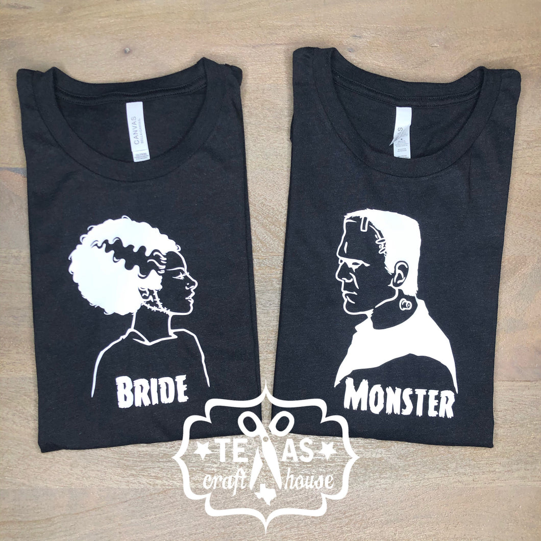 Set of Monster & Bride of Frankenstein T-shirts