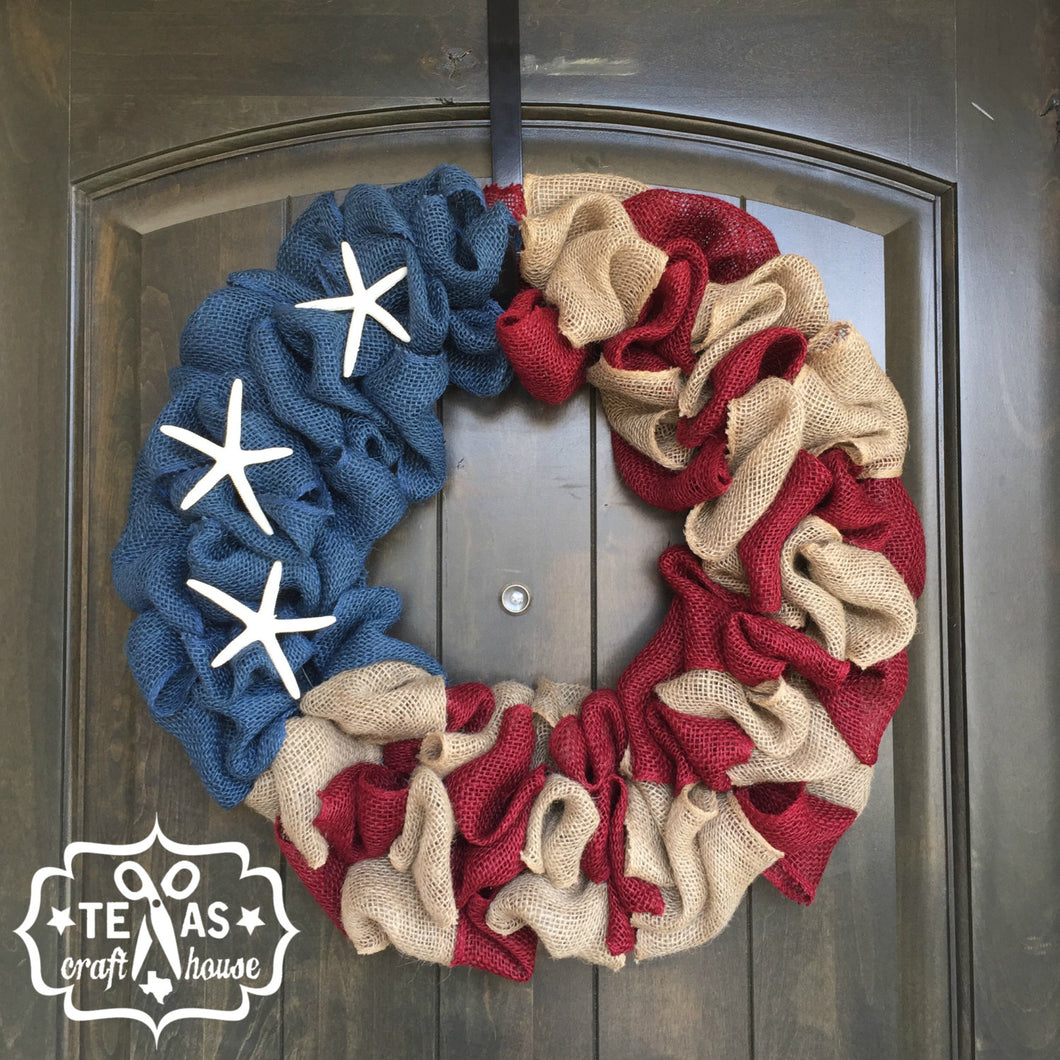 Burlap Americana Wreath with Starfish or Metal Stars