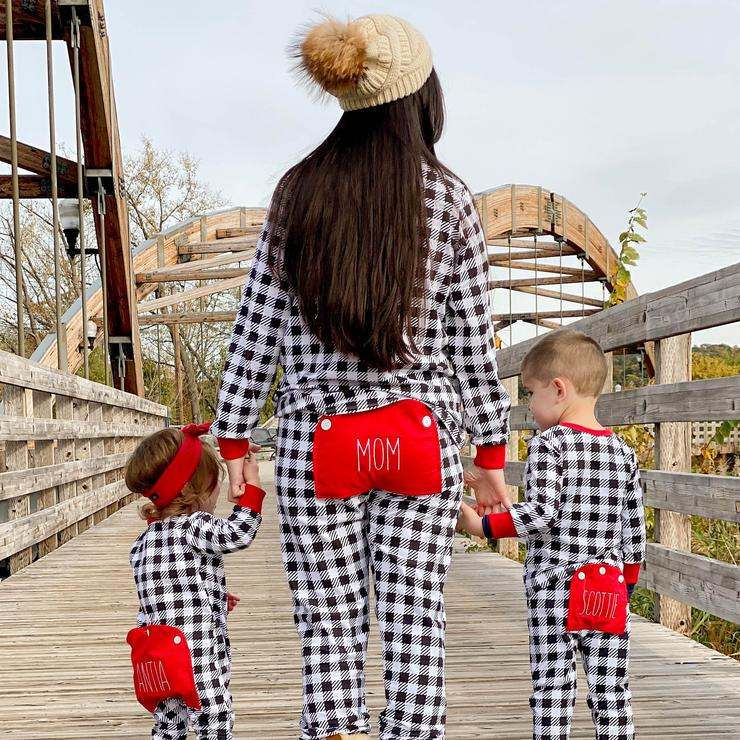Buffalo Check Faux Butt Flap Pajamas