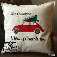 Load image into Gallery viewer, Personalized Last Name Red Truck Christmas Pillow - Personalized Last Name Christmas Pillow